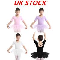 Kids Girls Ballet Leotard Tutu Dress Ballerina Dancewear Gymnastic Tutu Skirt UK