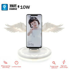 10W Fast Qi Wireless Charger Angel Wings Night Light Mobile Phone For iPhone 11