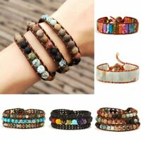 7 Chakra Bracelet Natural Stone Crystal Beads Leather Wristband Creative Bangle