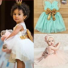 Enfants Bébé Fille Princesse Robe Soirée Paillettes Mousseline Plissé Tutu Jupe
