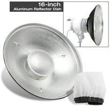 "Photography Aluminum Light Reflector Disk 16"" w/ Diffuser Cover Photo Studio NEW"