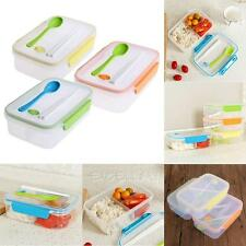 Transparent Three Compartments Lunch Bento Food Snack Container Storage + Spoon