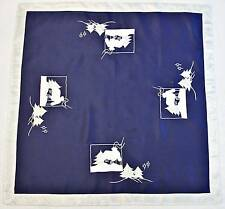 """VINTAGE CHRISTMAS WINTER LANDSCAPE APPLICATION EMBROIDERY BLUE 31"""" TABLECLOTH"""