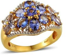 Tanzanite Ring 14K gold and silver Natural Untreated Stones 3 carats  size 9