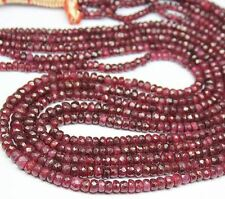 """Natural African Red Ruby Loose Gemstone Faceted Rondelle Beads Strand 9"""" 4mm 5mm"""