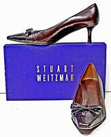 Stuart Weitzman Pumps 7.5 M Brown Leather Gator Print Captoe Heels Shoes IB