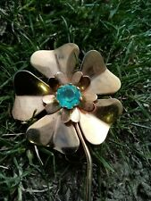 Gold Tone Flower Brooch With Turquoise Glass Setting