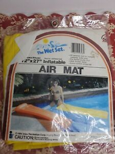 """Vintage 1984 Intex The Wet Set Inflatable Pool Air Mat Float Yellow 72"""" x 27"""""""