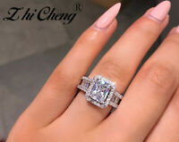 925 Silver White Sapphire Ring Bride Romantic Wedding Anniversary Gift Jewelry