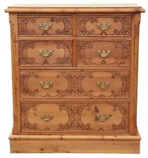 Antique Victorian style pine pokerwork chest of drawers