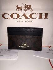 NWT COACH Black & Brown Signature PVC Card Case ID #F63279 MSRP $65
