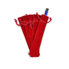 Lot de 5 Etuis à Stylo pour Plume ou Roller en Velours Rouge - Bijoux des Lys