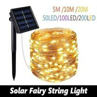 200 LED Solar Fairy String Light Copper Wire Outdoor Waterproof Garden Decor