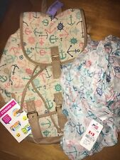 Claire's Nautical Backpack Matching Scarf Anchor Blue Peach + Justice Stickers