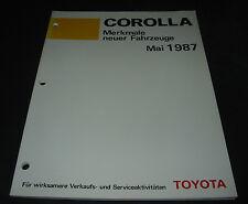 Werkstatthandbuch Toyota Corolla EE90 AE92 CE90 Merkmale neuer Fahrzeuge 05/1987
