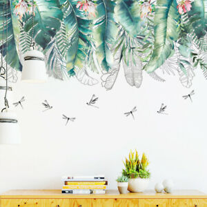 Removable Wall Stickers Nursery Hanging Tropical Leaves Dragonflies DIY AU Stock