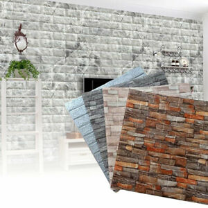 10pcs 3D Tile Brick Wall Sticker Self-adhesive Waterproof Foam Panel Wallpapers
