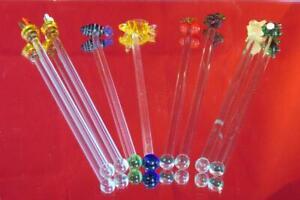 8 x VINTAGE GLASS COCKTAIL STIRRERS OR SWIZZLE STICKS V.G.COND