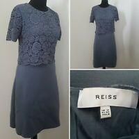 Ladies REISS Grey Lacy Dress Sz 12 Wiggle Pencil Smart Casual Event Special