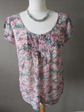 MONSOON Ladies Grey & Pink Ditsy Floral Print Semi Sheer Summer Top Size 12 VGC