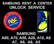 Samsung Rent a Center Unlock Service, Samsung A10, A20, A30, A50, A80, A7