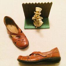 Clarks Bendables Brown Leather 60410 Ladies Womens Shoes Flats Sandals Sz 5.5 M