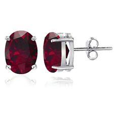 Sterling Silver Created Ruby 8x6mm Oval Stud Earrings