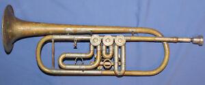 Antique Czech Rotary Lidl Brno Brass Trumpet