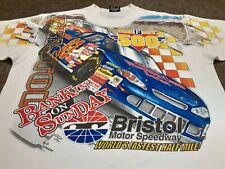 VTG Y2K Chase Bristol Motor Speedway NASCAR All Over Print T Shirt White X-Large