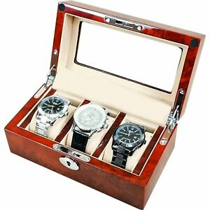 Laminated Makah Burlwood 3 Watch Collectors Box with Clear Top