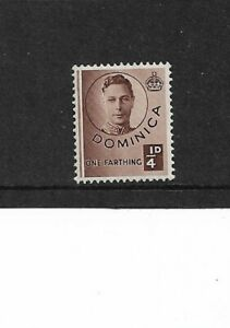 1940 Dominica - KGVI 1/4d. Brown - Mounted Mint.
