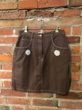 VINTAGE BROWN DENIM SKIRT SIZE 12 WITH BEADED & FLORAL DETAIL MINI (vb426)