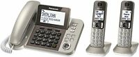 PANASONIC CORDED / CORDLESS WIRELESS DECT 6.0 TWO HANDSET PHONE TELEPHONE NEW