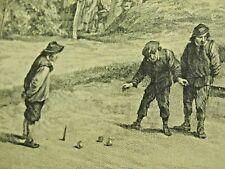 Antique French Copper Engraving 18th Century 1700s Print Bocce Genre Sport Boule