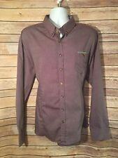 DOUBLJU Mens Shirt 3XL XXXL Slim Fit Purple Longsleeved Buttondown Cotton K02