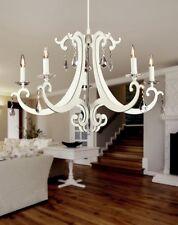 Lampadario classico 5 luci in metallo bianco opaco e cristallo coll. Dese 3906-5