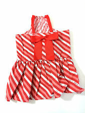 Martha Stewart Dog Dress Small Red Pink Silver Striped Christmas Holiday New