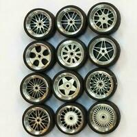 1/64 Scale Alloy Wheels Custom Hot Wheels for Matchbox Tomy Rubber Tires NE V7H3
