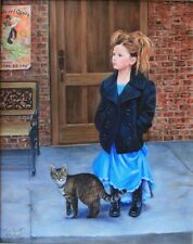 "Alice Hurlbert Girl w Cat "" Free Spirits"" Medium Original Oil painting signed"