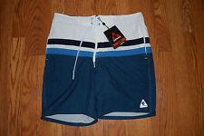 NWT Mens GERRY White Navy Turquoise Scuba X-Dye Swim Shorts Trunks Swimsuit L
