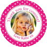 PERSONALISED GLOSS BIRTHDAY PHOTO STICKERS FOR PARTY BAGS & SWEET CONE LABELS