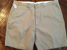 "MEN'S SHORT PANTS CASUALS ROUNDTREE & YORKE 48 RELAXED FIT KHAKI 10"" INSEAM FLAT"