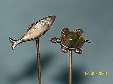 Vintage Sterling Silver Hat Stick Pin W Moss Agate And Mother Pearl Both Stamped