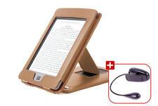 Lederhülle/Case für Amazon Kindle eReader Touch, mit Stand, braun + Leselicht