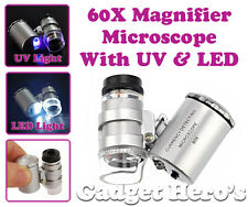 World Smallest Microscope 60X UV & LED Magnifier With Money / Currency Checking
