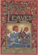 """""""HOLLY LEAVES"""" Couverture originale entoilée FARM & COUNTRY Noël 59  30x41cm"""