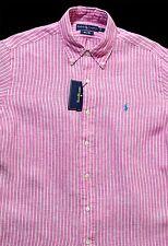 Men's RALPH LAUREN Pink White Striped Linen S/S Shirt XL Extra Large NWT NEW