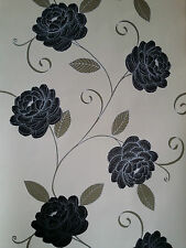 Puccini Range Black, Beige, Cream Wallpaper Flower floral Feature 5566