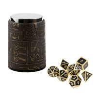 7 Set Metal Polyhedral Dice for  DND +Dice Cup Black #1