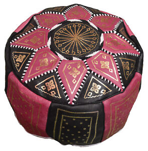 Pouf Moroccan Hassock Pooff Leather Pouff Ottoman Footstool Medium Black w/Pink